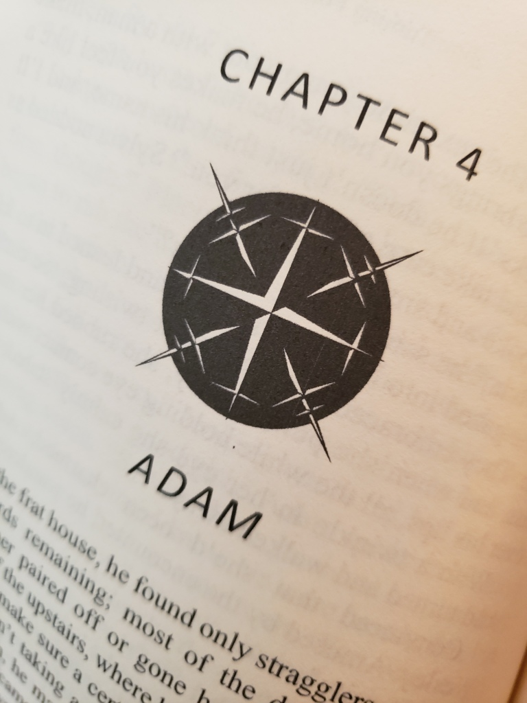 The chapter heading, chapter four. A black circle like a compass with pointed daggers sticking out at the directional places. No words or letters on the compass. It looks menacing.